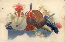 Still Life of Bottles, Grapes, Bouquet of Pink Flowers, Leaves and Pumpkin