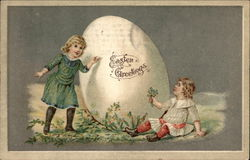 Easter Greetings with Children & Egg
