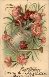 Best Wishes - Flowers, Watering Can Postcard