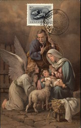 Madonna and Child surrounded by Joseph and Angel in the Manger