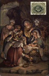 Three Wise Men with Joseph, Mary and Jesus in Manger Postcard