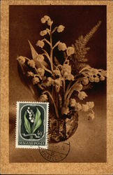 Container filled with Lily of the Valley and Coordinating Postage Stamp