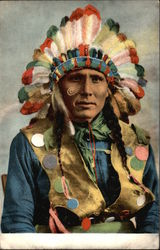 Native American Man in Feathered Headdress