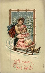 A Merry Christmas with Children on a Sled