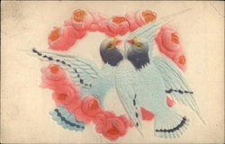 Pair of Doves in Pink Heart-Shaped Flower Wreath Postcard