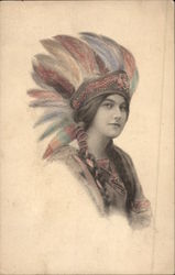 Indian Maiden Wearing Colorful Headdress