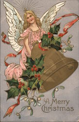 A Merry Christmas Angel with Gold Bell