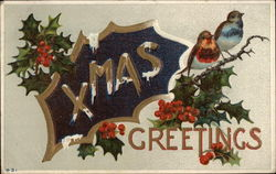 Christmas Greetings with Holly and Birds