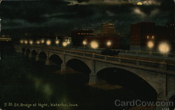 5th Street Bridge at Night Waterloo Iowa