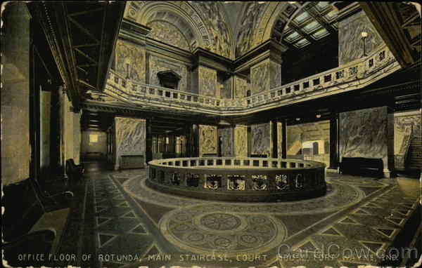Office Floor of Rotunda, Main Staircase, Court House Fort Wayne Indiana