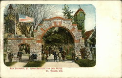St. Johns Institute for Deaf Mutes - Main Entrance Postcard