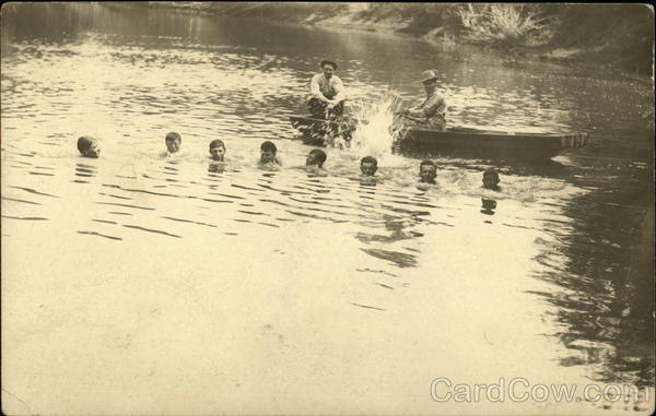 Group of Swimming Boys Unidentified People