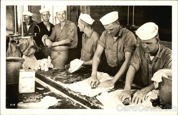 Boys in a Naval Training Center Wash Room Athol Illinois