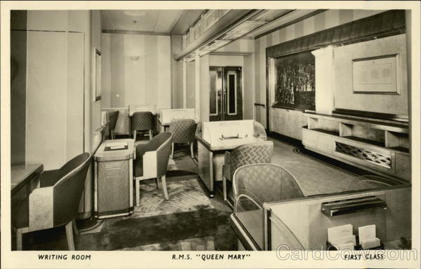 Writing Room, R.M.S. Queen Mary, First Class Boats, Ships