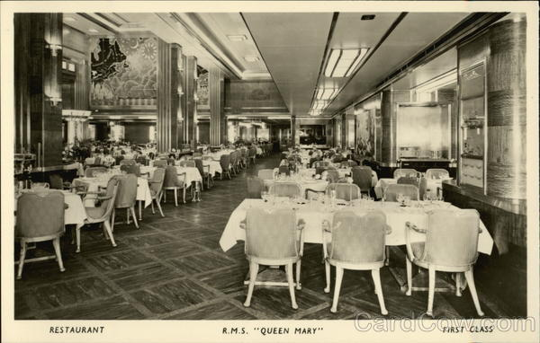 RMS Queen Mary  Restaurant First Class Cruise Ships