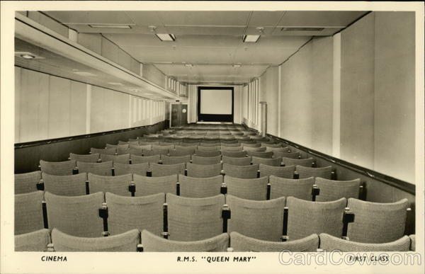 Cinema RMS Queen Mary First Class Cruise Ships