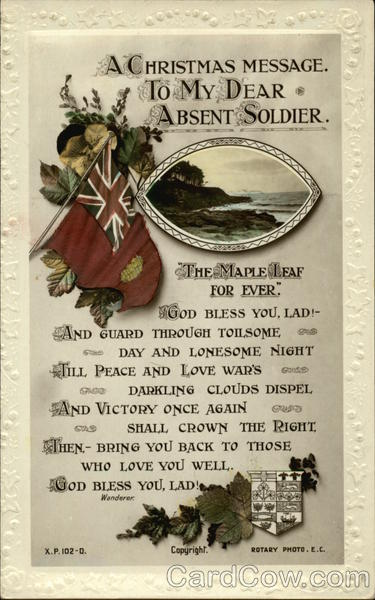 A Christmas Message To My Dear Absent Soldier World War I