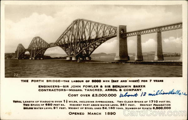 The Forth Bridge - The Labour of 5000 Men (Day and Night) For Seven Years Edinburgh Scotland