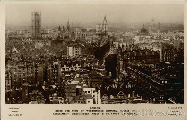 Birds Eye View of Westminster Showing Houses of Parliment, Westminster Abbey & St. Pauls Cathedral London