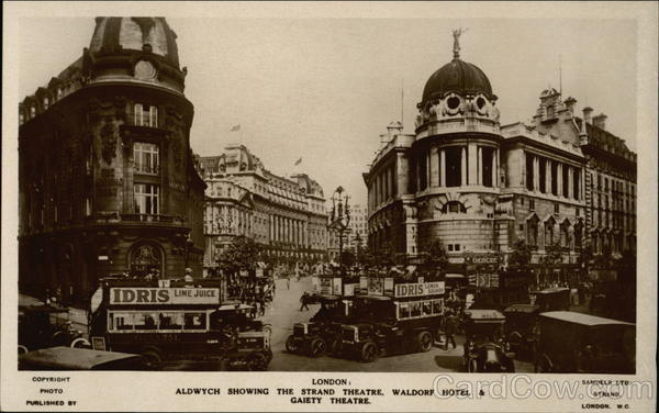 Aldwych Showing the Strand Theatre, Waldorf Hotel & Gaiety Theatre London England