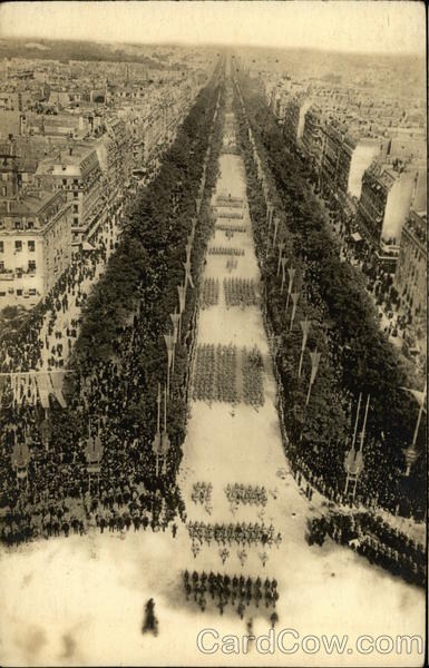 Paris - July 14, 1919 - Victory Parade on Avenue de al Grande Armie France