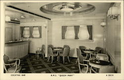 Cocktail Bar R.M.S. Queen Mary, R Deck Postcard