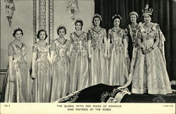 The Queen with her maids of honour and mistress of the robes