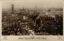 Birds Eye View of Westminster Showing Houses of Parliment, Westminster Abbey & St. Pauls Cathedral Postcard