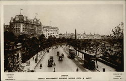 Thames Embankment showng Hotels Cecil & Savoy Postcard