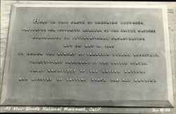 Memorial of the U.N. Meeting of 1945 at Muir Woods National Monument, Calif