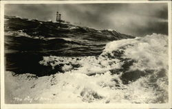 Ships Stacks Showing Over Rough Waters in The Bay of Biscay