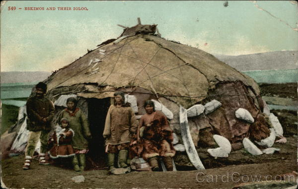 Eskimos in their igloo Native Americana