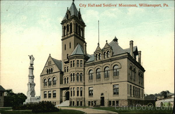 City Hall and Soldiers' Monument Williamsport Pennsylvania