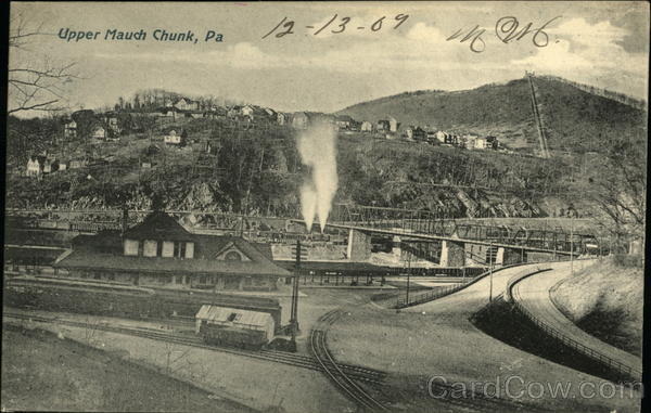 View of Town and Railroad Station Upper Mauch Chunk Pennsylvania