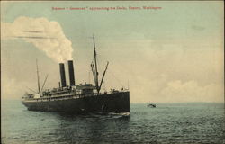 "Steamer ""Governor"" Approaching the Docks"