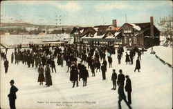 Merry Ice Skaters Showing Skating Pavilion
