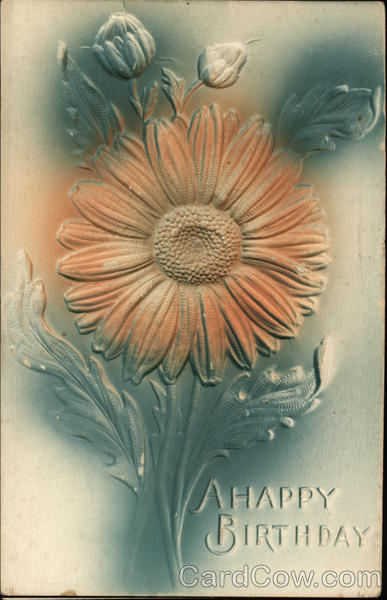 A Happy Birthday - Embossed Flower Airbrushed
