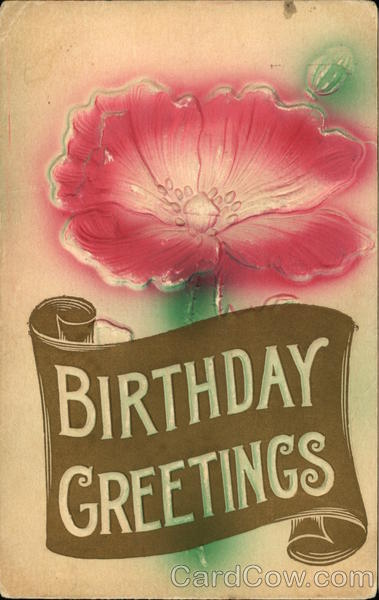 Birthday Greetings with Large Red Flower Airbrushed