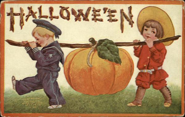 Children Carry Pumpkin Halloween