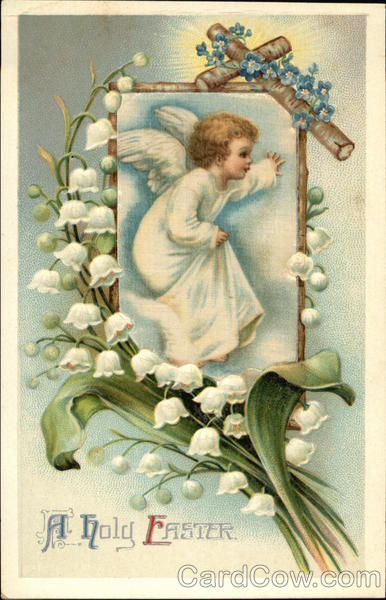 A Holy Easter with Angel, Cross, and Lily of the Valley