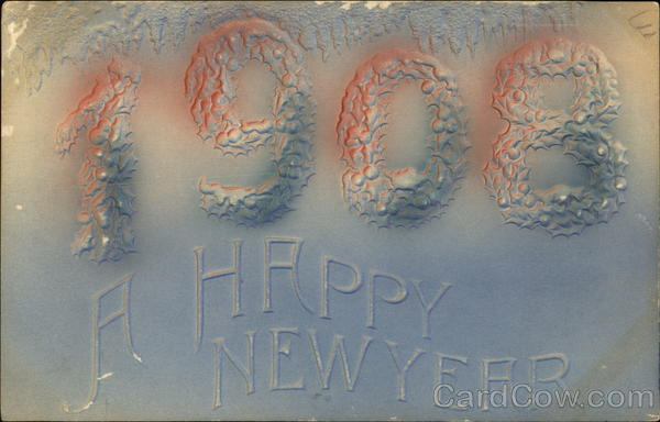 1908, A Happy New Year Year Dates Airbrushed