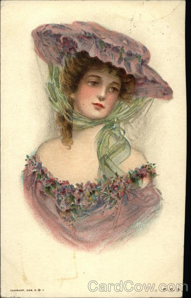 Lady in Violet with Hat Women