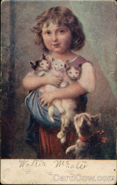 Little Girl Holding Three Kittens Cats