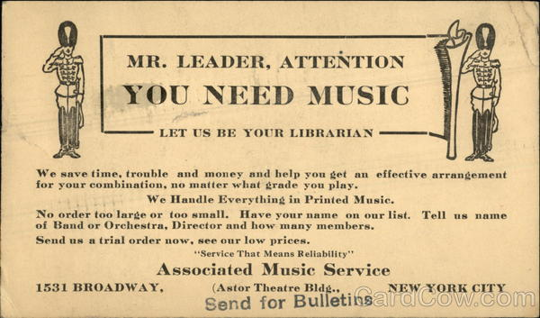 Associated Music Service, New York City Advertising