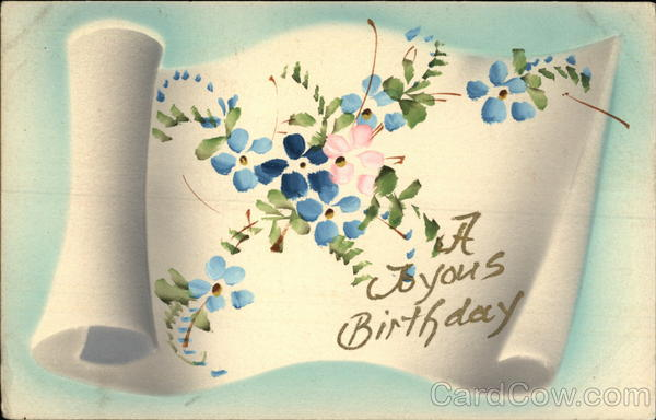 A Joyous Birthday, With Blue Flowers