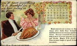 You'll Have Something to be Thankful for if you Have Money in the Bank, November 1908