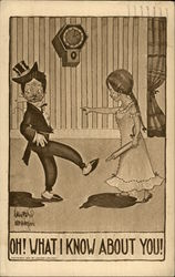 Woman With Rolling Pin Speaks to Husband in Top Hat and Tails