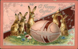 A Happy Easter with Bunnies and Eggs