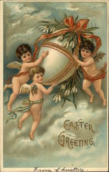 Easter Greeting with Three Angels Carrying Decorated Egg