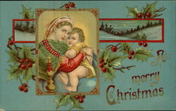 A Merry Christmas with Madonna and Child Postcard